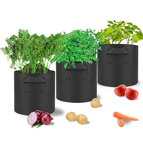 M MAYbabe 3 bolsas de cultivo para plantas. Macetas de tela con asas para plantas/flores/verduras. Maceta de aireación no tejida,...