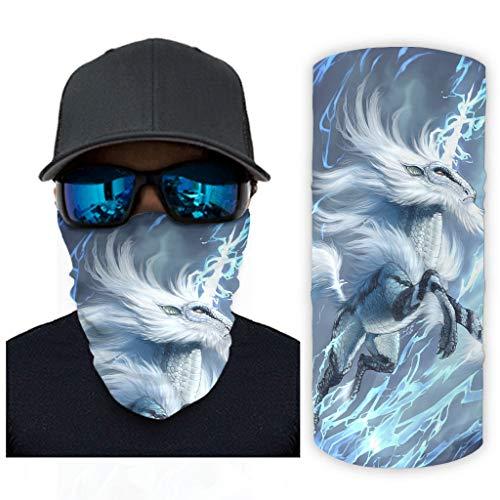 Hothotvery Braga de cuello unisex Fantasy Kirin estampada, pasamontañas, banda elástica para el cuello, protección contra la arena, color blanco, talla única
