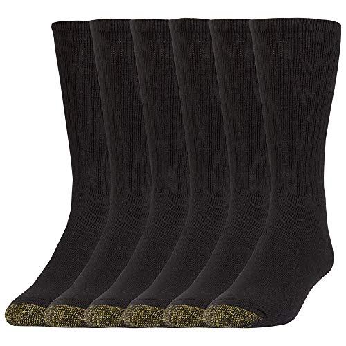 Gold Toe Herren Harrington Crew, Multipairs Lssige Socken, Schwarz, X-Large (6er Pack)
