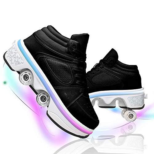 JYHGX Patines De Ruedas Niñas Zapatos De Rodillos De Cuatro Ruedas Hombres Mujeres Multiusos 2 En 1 Deformación Zapatos para Caminar Patinetas