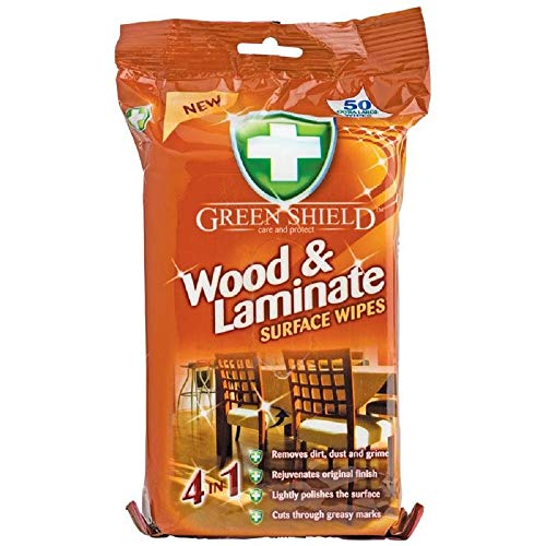Greenshield Wood and Laminate Surface Wipes - Pack of 70(Large Wipes)