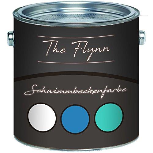 The Flynn Schwimmbeckenfarbe auserlesene Poolfarbe in Blau Weiß Grün Schwimmbad-Beschichtung Betonfarbe Teichfarbe (30 kg, Weiß)