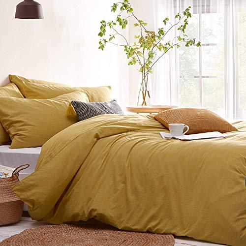 Lanqinglv Bettwäsche 135x200cm 2teilig Gelb Gold Uni Bettbezug Deckenbezug 135x200cm mit Reißverschluss und Kissenbezug 80x80cm aus Renforce Microfaser