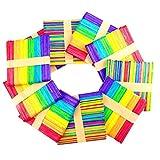 Sunshine smile Holzeisstiele zum Basteln,300 Stück Farbe Holzstäbchen,Holzstiele,Eisstiele aus Holz, Holzspatel Stiele,Popsicle Sticks,Craft Sticks,Holzstäbe - 2