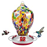 Hummingbird Feeders for Outdoors Hanging, Seniny Hand Blown Glass Hummingbird Feeder with 28 Ounces Capacity, Humming Bird Feeders for Outside, Garden Decoration Contain Ant Moat, Perch, Hook