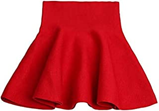 Girls' Knitted Flared Pleated Casual Mini Skirt