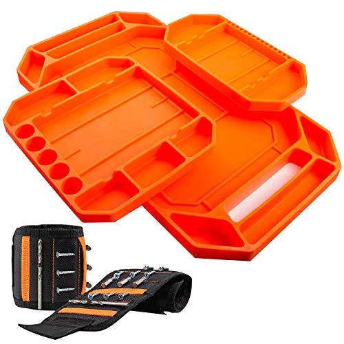 HomeXPro 3PCS Non-Slip Flexible Tool Tray + Magnetic Wristband   Tool Organizer   Tool Mat   Tool Tray Organizer   Tool Organizers and Storage   Silicone Tool Tray   Easy to clean   Parts Tray