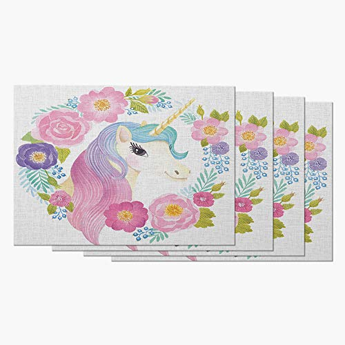 Moslion Placemats Animal Cute Unicorn Pink Purple Blue Wavy Hair in Garland Spring Flowers Leaf Table Placemats for Dinning Table Washable Cotton Linen 12x18 Inch, Set of 4