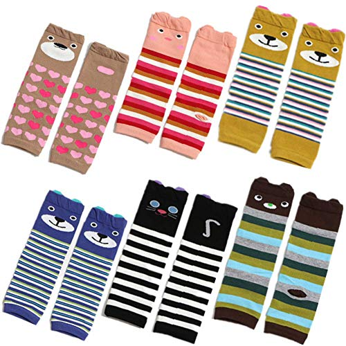 6 PCS Baby Toddler Leg Warmers Knee Protector for Girls Boys Crawling Knee Pads in Various Styles