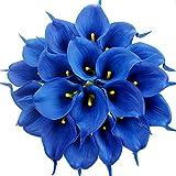Justoyou Bouquet de fleurs artificielles en latex, 20 lys calla, toucher réaliste, fleurs pour bouquets de mariage, maison, hôtel, jardin, Tissu, bleu, 20PCS