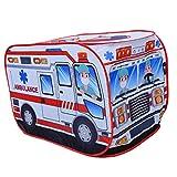 perfeclan Spielzelt Polizei Zelt, Kinderzelt Polizeiauto Wurfzelt Spielhaus - Krankenwagen, 110 x 70...