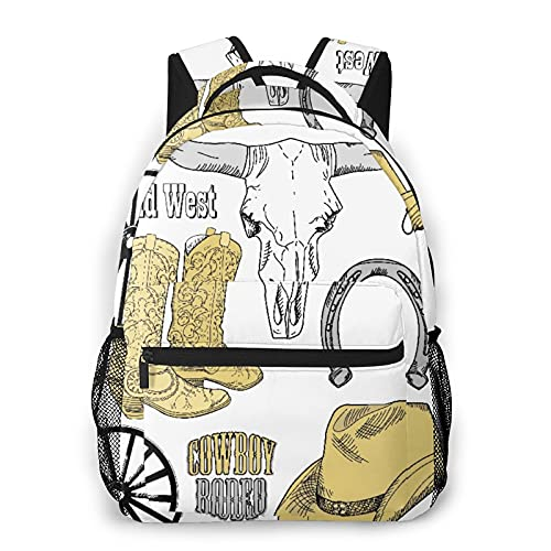 RUPIHU Zaino casual classico,Accessori per rodeo da cowboy Skull Lazo Hat Vintage Wheel Horseshoe,Borsa per libri da scuola universitaria con zainetto per computer aziendale