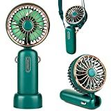 smartelf Handheld Fan, 4800mAh Battery Operated Mini Portable Personal Cooling Fan USB Rechargeable Wearable Hanging Neck Fans for Women Men, Multi-Functional, 6-20 Hours Strong Airflow 3 Speeds-Green