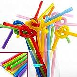 CHENGYIDA Paquete de 1000 pajitas flexibles para bodas y fiestas de cumpleaños, suministros para...