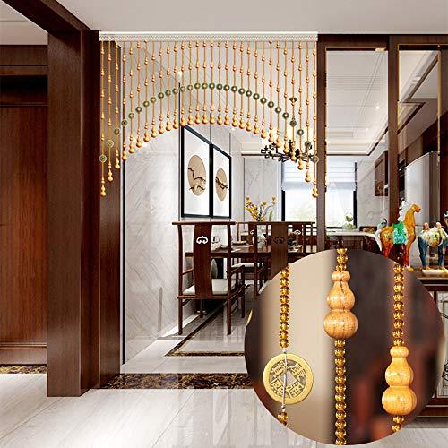 CDDQ Perlenvorhang Türvorhang für Türschrankpassage Raumteiler Vintage Balkon Dekoration,Handgemacht Holzperlen Vorhänge,Geeignete Breite: 60-300 cm / 24