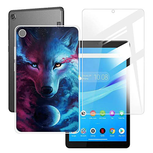 HHUAN Tablet Case + Screen Protector for Lenovo Tab M8 TB-8505F / TB-8505X 8 inches,Semi-Transparent Flexible Silicone Gel TPU Protective Shell Bumper Case Cover - Charm Fox