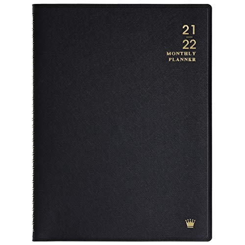 """2021-2022 Monthly Planner - 18-Month Planner/Calendar 2021-2022 with Tabs, Jul 2021 - Dec 2022, 8.86"""" x 11.4"""", Faux Leather, Pocket, Passwords, 15 Note Pages, Twin-Wire Binding, Thick Paper- Black"""