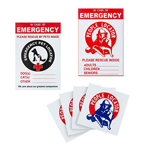 A1 Gear Rescue Decal Kit – (6 PACK) Reflective Locator Alert Stickers - Fire Safety for Kids Pets and Seniors – In Case of Emergency Window Clings - Save Our Dogs & Cats Inside – Vinyl EMS Emblem Sign