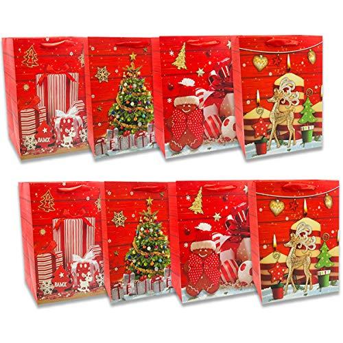 Buste Regalo per Natale - 8 Pezzi - Sacchetti Regalo in 4 Design Natalizi - Borse e Scatole di Carta per Doni di Natale o Carta Regalo (32x26x10cm)