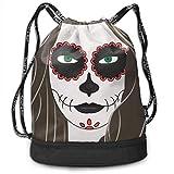 RTFGH Halloween Girl Makeup Terror Bundle Mochila Ultra-Durable Mochila con cordón Bolsas...