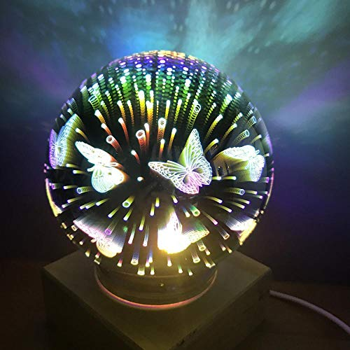 Ultra Amazing 3D Effect Glass Night Light Glass Ball Perfect for Adults and Childrens Night Light USB Powered Desk Lamp Home Room Decor Decal Night Light Electroplated (Butterfly)