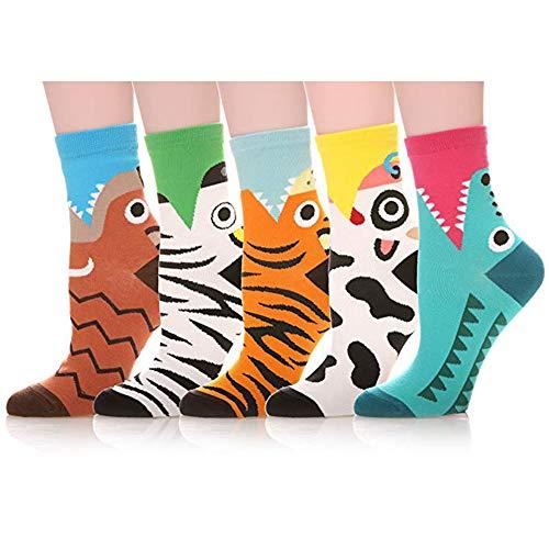 Bakicey Damen Mädchen Socken Stricken Socken Strümpfe Baumwolle Nette Cartoon Gemustert Mädchensocken - Elastisch Sport Socken Füßlinge Kurzsocken Damensocken, 5 Paar. (Lässige Tiger)