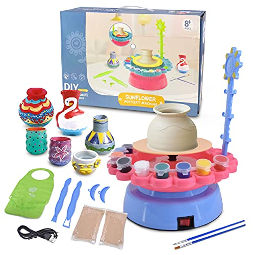 Complete Pottery Wheel Set, Pottery Station for Beginner, Includes Learning Manual, Arts and Crafts for Kids and Adults, Pottery Studio Kit with Table Accessories