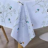 AIJIA Wachstuch Tischdecke Wachstischdecke Blau Plastik PVC Party Tischdecken Wasserabweisend Abwischbare Lotuseffekt für Schutzfolie(Rechteckig Vogel) 137 * 180CM