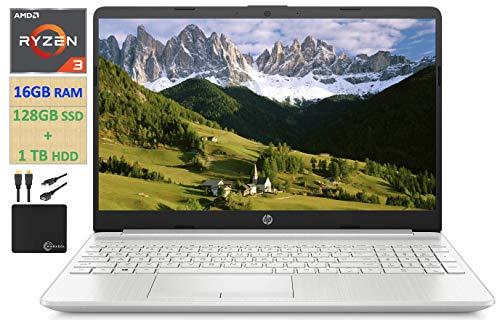 "2021 HP Flagship 15.6"" HD Laptop Computer, AMD Ryzen 3 3250U up to 3.5GHz (Beat Intel i5-7200U), 16GB RAM, 128GB SSD+1TB HDD, HD Webcam,Remote Work,WiFi, Bluetooth 4.2, HDMI, Win10 S, w/Marxsol Cables"