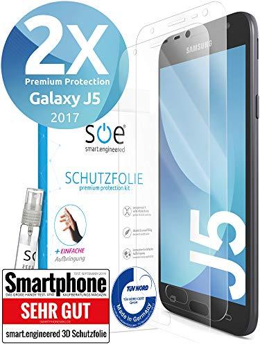 [2 Stück] 3D Schutzfolien kompatibel mit Samsung Galaxy J5 (2017) - [Made in Germany - TÜV] HD Displayschutz-Folie - Hüllenfreundlich – Transparent – kein Schutz-Glas sondern Panzer-Folie TPU
