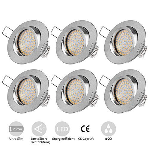 Tobbiheim Foco LED empotrable giratorio, 6 x 5 W, ultraplano, incluye módulo LED de 230 V, redondo, acero IP20, ángulo de haz de 120°, blanco cálido, 3000 K