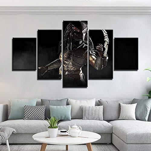Arte de la pared Pintura en lienzo 5 piezas Carteles e impresiones Alien Vs. Imágenes de pared de depredador para la decoración del hogar de la sala de estar(size 2)