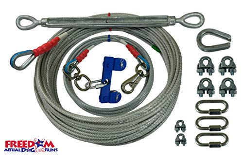 Freedom Aerial Dog Runs Super Heavy Duty (Lead Line Length 15 FT, Aerial Cable 100 FT)