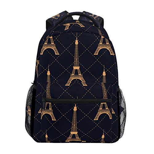 Mochila grande con diseño geométrico de la Torre Eiffel, color dorado, con múltiples bolsillos, de la…