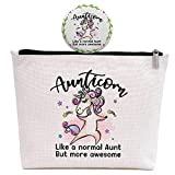 Aunt Gifts -Funny Birthday Mother's Day Gift for Aunt From Niece And Nephew -Auntie Christmas Gifts -Aunt Makeup Bag Gift -Aunticorn Like A Normal Aunt But More Awesome