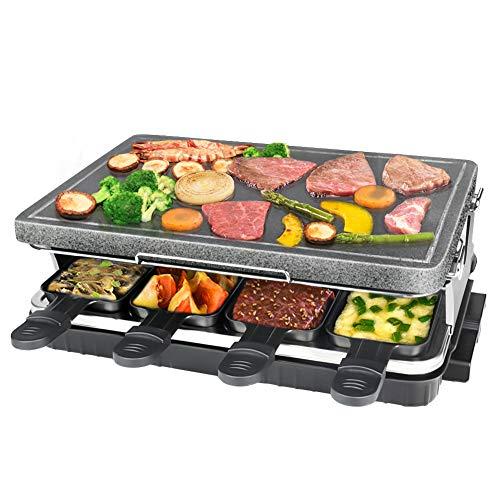Raclette de Piedra Natural para 8 Personas, Parrilla De Mesa, Steaklette Barbacoa Party Raclette Grill Control de Temperatura Variable incluye 8 Espátulas - 1300W