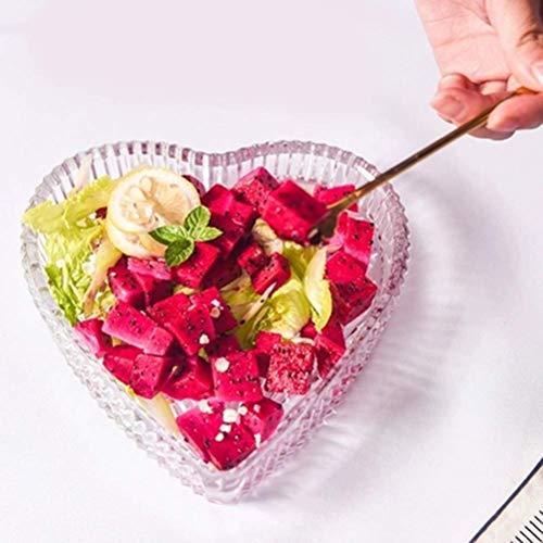 NDYD Fruit bowl Fruit Plate Simple Household Glass Love Heart-shaped Fruit Plate Salad Plate Living Room Fruit Basket Exquisite Salad Bowl Durable -fruit basket DSB