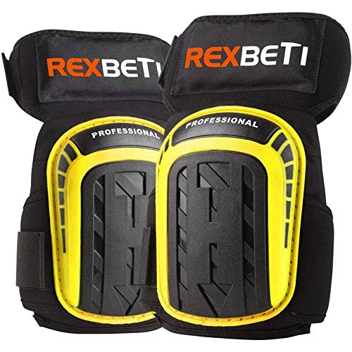 REXBETI Knee Pads for Work, Construction Gel Knee Pads Tools, Heavy Duty Comfortable Anti-slip Foam Knee Pads for Cleaning Flooring and Garden, Strong Stretchable Straps, 1 Pair