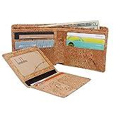 Boshiho RFID Blocking - Portefeuille en liège Slim Design Bifold Porte-monnaie avec poche à monnaie, Vegans Wallet Cadeau écologique pour hommes et femmes (Tan)