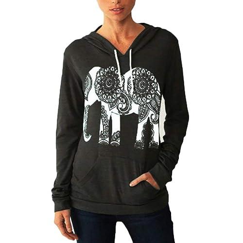 690e64617b1719 Alion Women s Fall Hoodies Elephant Print Long Sleeve Sweatshirt Athletic  Pullover