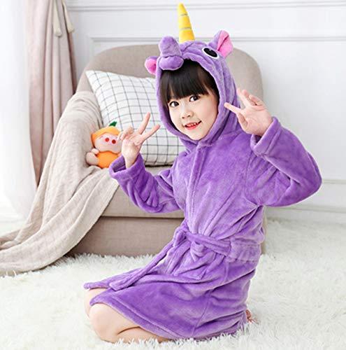 IAMZHL Toalla de Playa para bebés, Bata de baño para niños, Batas de baño con Capucha de Arco Iris para niños, Pijamas, camisón, Ropa de Dormir para niños-Purple-4-3T