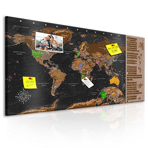 murando - Design Rubbelweltkarte Pinnwand - 90x45 cm – Schwarz - Weltneuheit: Weltkarte zum Rubbeln - Rubbelkarte mit Fahnen/Nationalflaggen - Inkl. 50 Markierfähnchen k-A-0216-o-c