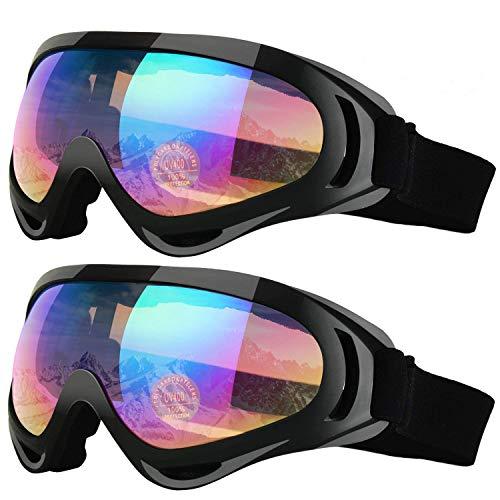 Elimoons Ski Goggles Kids, 2-Pack Snowboard Motobike Goggles for Children Men & Women, Boys & Girls, Youth, Snow Goggles Glasses with UV 400 Protection Wind Resistance Anti-Glare Lenses