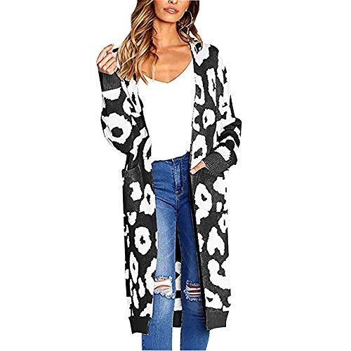 cappotto donna maculato ODOKEI Cardigan Donna Cardigan Elegante Maglione Lungo a Maniche Lunghe Leopardo per Autunno Giacca Lungo Irregolare Casual Maglia Maglione Cappotto Nero XL