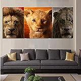 Diamond Drawing 3pcs Set Lion Landscape Triptych Scenery Pictures-3-40x50cm