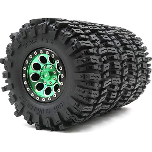 4pcs RC 2.2 Mud Slingers Tires Crawler Tyres Height 124mm & Aluminium 2.2 Beadlock Wheels Rims Green/Black Color