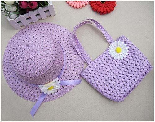 LiuliuBull Playa Gorras Bolsas Flor Sombrero de Paja Gorra Tote Bolso Bolsa Traje Verano Sol Sombrero 54 cm (Color : Purple)