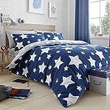 Bedlam Stars-Juego de Funda nórdica, algodón Cepillado, Azul, Individual, Azul, Duvet Cover Set: Double
