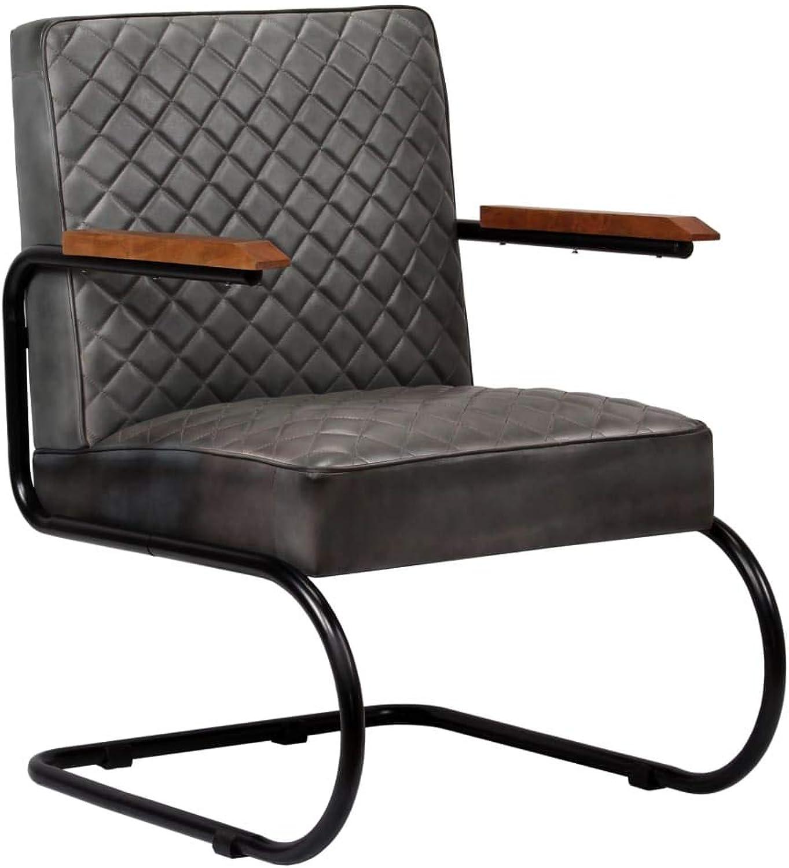 Festnight Armchair Office Chair Genuine Leather 63x75x88 cm Dark Brown Grey