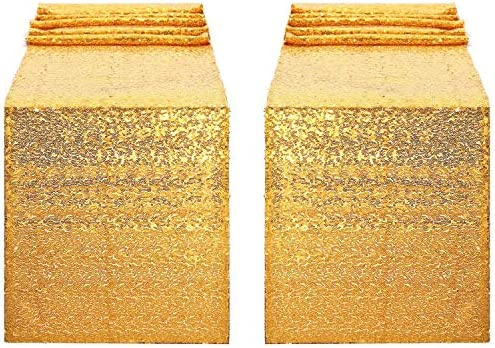 Yetomey 2Pcs 12x108 inch Sequin Table Runner Glitter for Wedding Graduation Party Birthday Baby product image